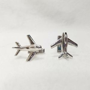 Airplane Plane Cuff Links Silver Color SWANK Air